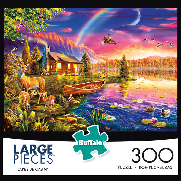 Puzzle (300pc) Large Pieces : Lakeside Cabin