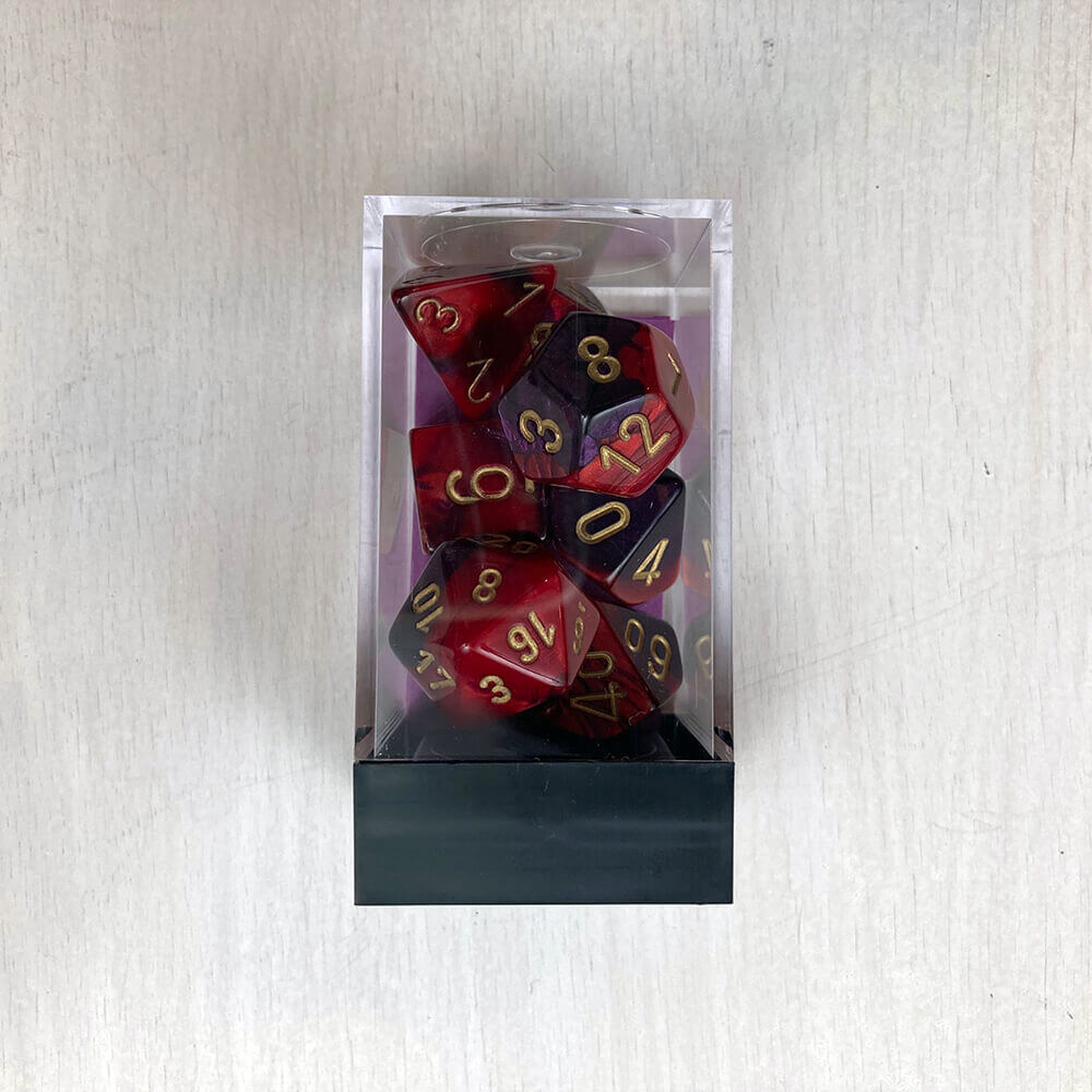 Dice 7-set Gemini (16mm) 26426 Purple Red / Gold
