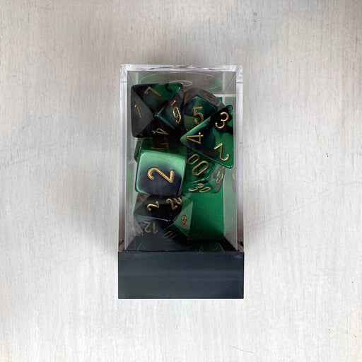 Dice 7-set Gemini (16mm) 26439 Black Green / Gold