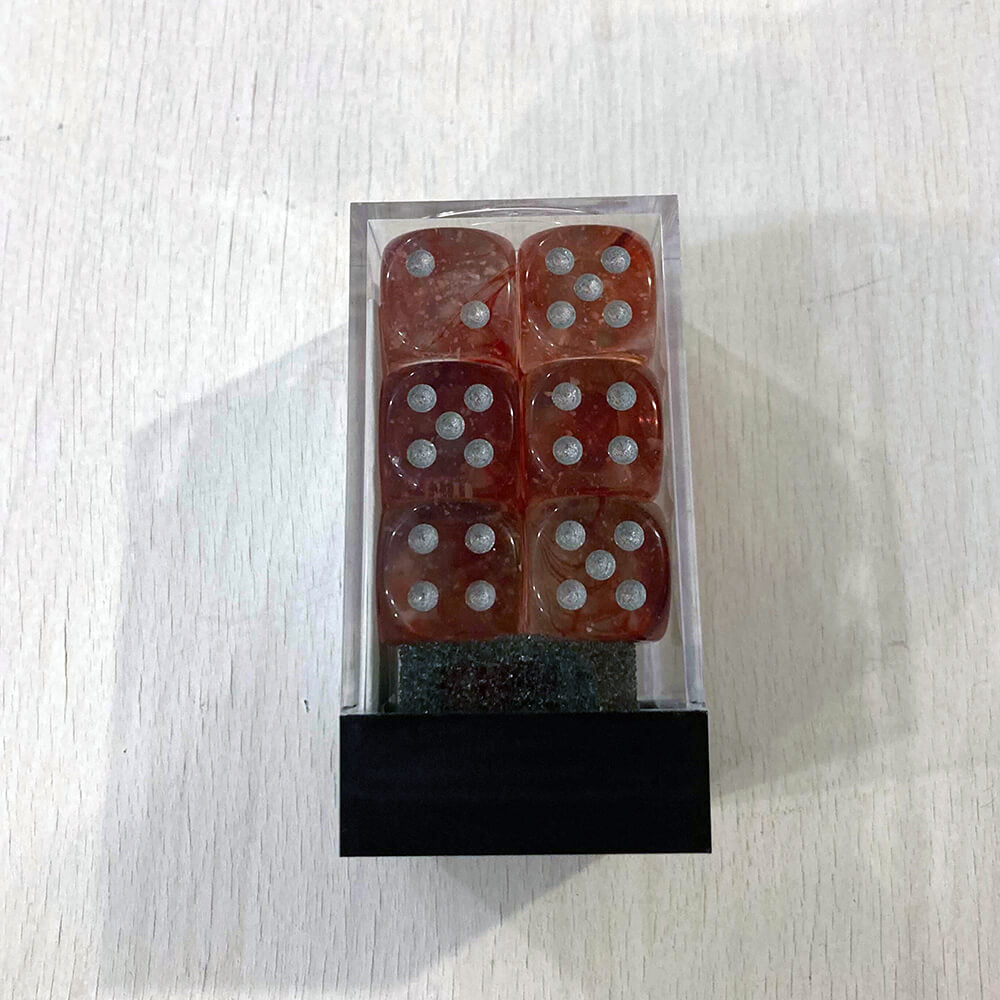 Dice Set 12d6 Nebula (16mm) 27754 Red / Silver