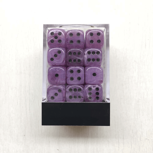 Dice Set 36d6 Deluxe Swirl (12mm) Ice Purple / Black