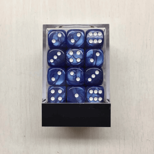 Dice Set 36d6 Deluxe Marbleized (12mm) Blue / White