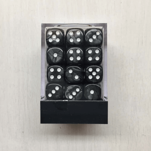 Dice Set 36d6 Deluxe Marbleized (12mm) Grey / White