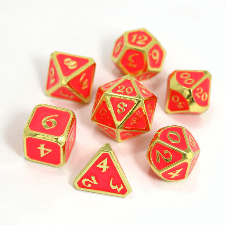 Dice 7-set Metal Mythica (16mm) AfterDark Neon Bloom