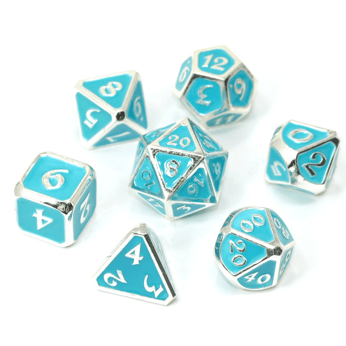 Dice 7-set Metal Mythica (16mm) AfterDark Neon Rain