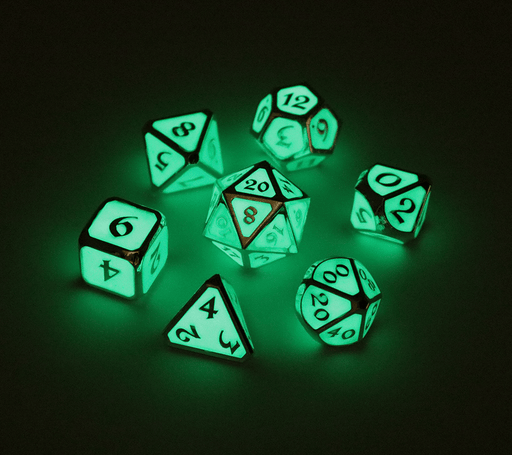 Dice 7-set Metal (16mm) AfterDark Neon Rain