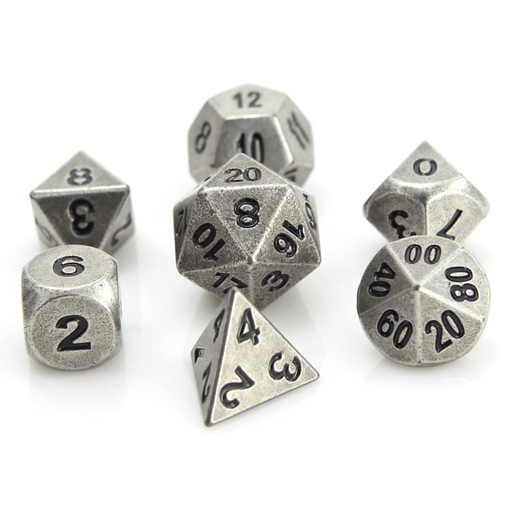 Dice 7-set Metal Classic (16mm) Ancient Silver