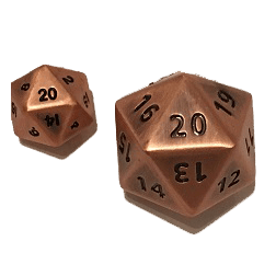 Polyhedral Dice d20 Metal (35mm) Antique Copper Hue