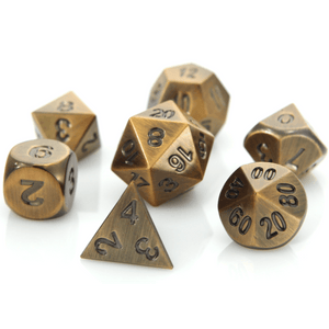 Dice 7-set Metal (16mm) Battleworn Bronze