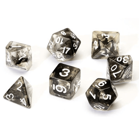 Dice 7-set Translucent (16mm) Black Cloud