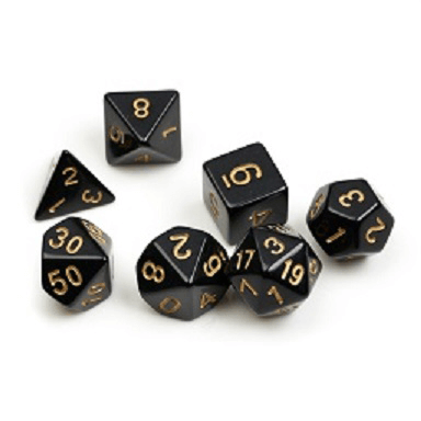 Dice 7-set Opaque (16mm) Black / Gold
