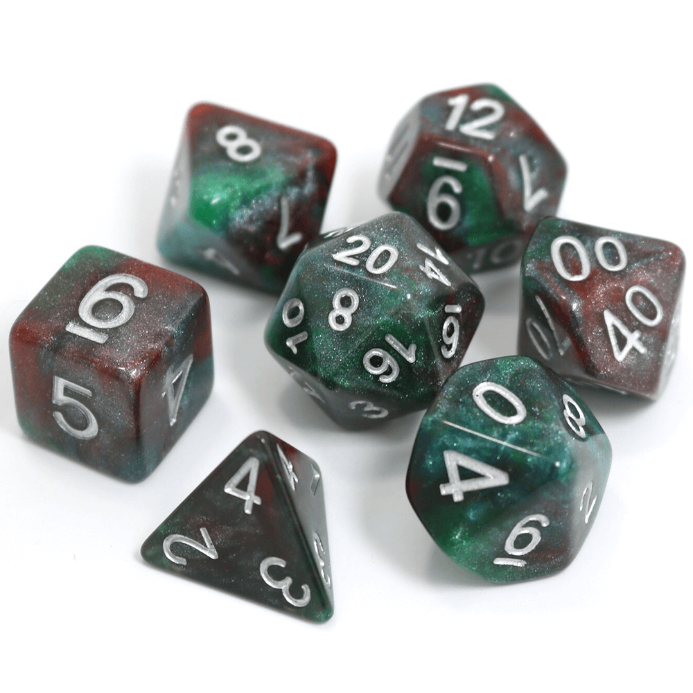 Dice 7-Set Glimmer (16mm) Bloodstone
