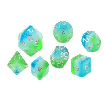 Dice 7-set Translucent (16mm) Blue Hawaiian