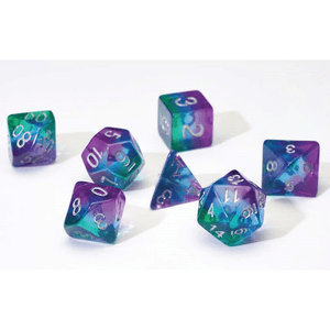 Dice 7-set Translucent Semi (16mm) Blue Aurora