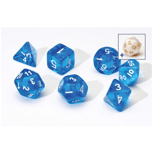 Dice 7-set Translucent (16mm) Blue