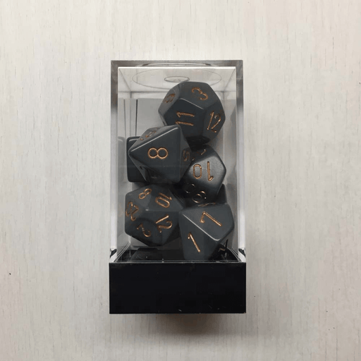 Dice 7-set Opaque (16mm) 25420 Dark Grey / Copper
