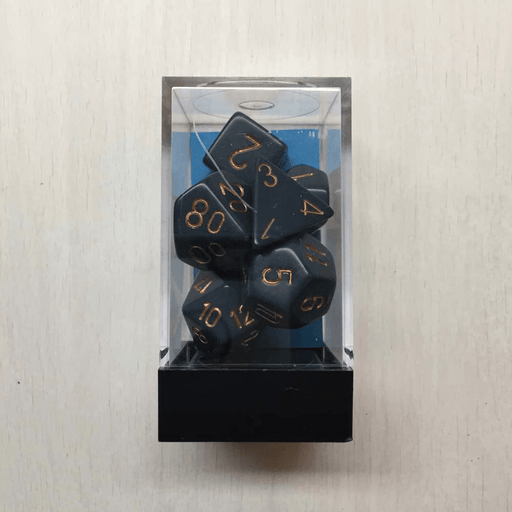Dice 7-set Opaque (16mm) 25426 Dusty Blue / Copper