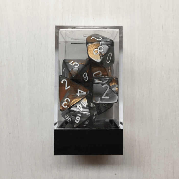 Dice 7-set Gemini (16mm) 26424 Copper-Steel / White