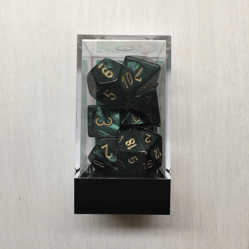 Dice 7-set Scarab (16mm) 27415 Jade / Gold