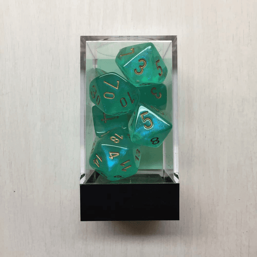 Dice 7-set Borealis (16mm) 27425 Light Green / Gold