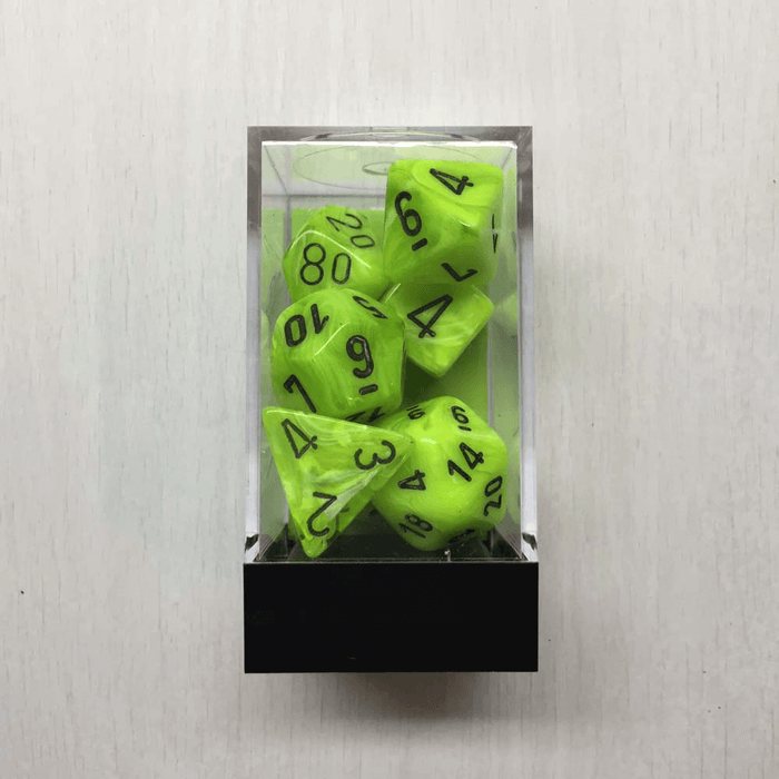 Dice 7-set Vortex (16mm) 27430 Bright Green / Black