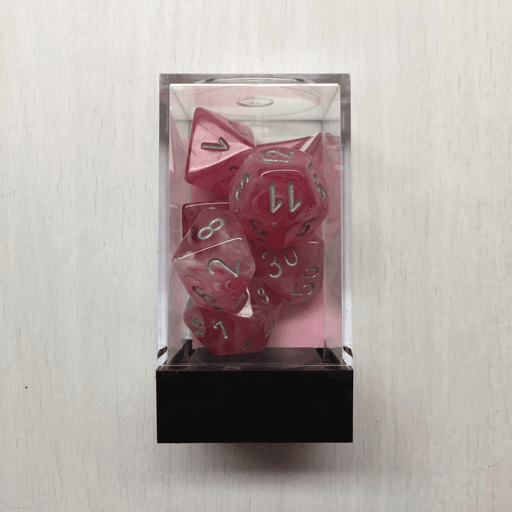 Dice 7-set Ghostly Glow (16mm) 27524 Pink / Silver
