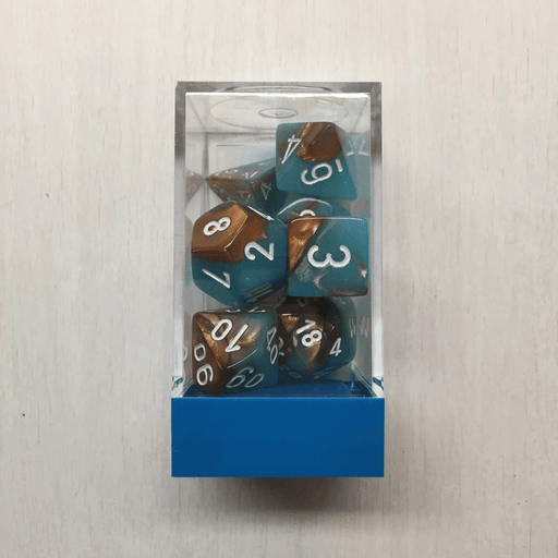 Dice 7-set Gemini (16mm) 30019 Copper-Turquoise / White