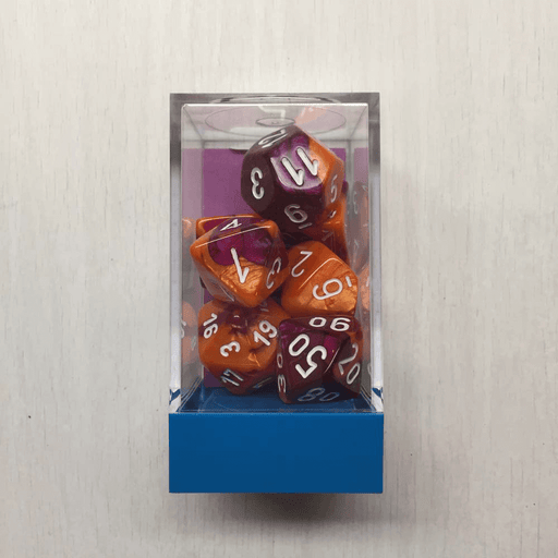 Dice 7-set Gemini (16mm) 30021 Orange-Purple / White