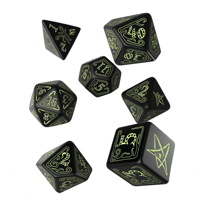 Dice 7-set Call of Cthulhu (16mm) Black / Glow