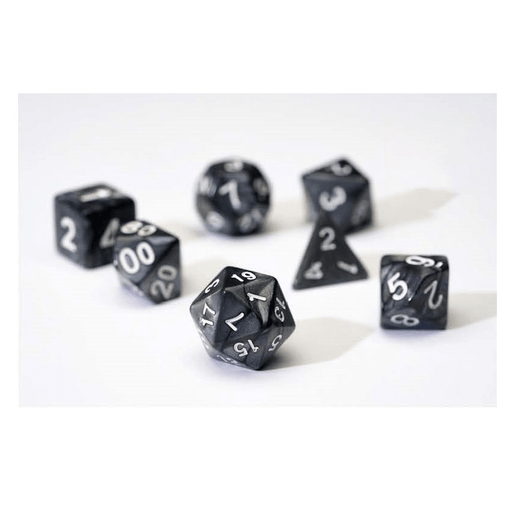 Dice 7-set Pearl (16mm) Charcoal Grey