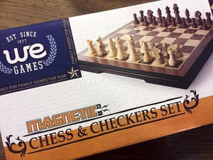 Chess & Checkers Magnetic Folding (8in) Wood