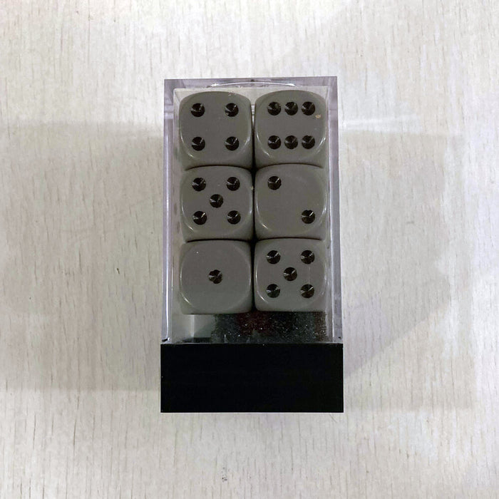 Dice Set 12d6 Opaque (16mm) 25610 Grey / Black