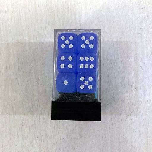 Dice Set 12d6 Frosted (16mm) 27606 Blue / White
