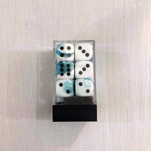 Dice Set 12d6 Gemini (16mm) 26644 Teal-White/ Black