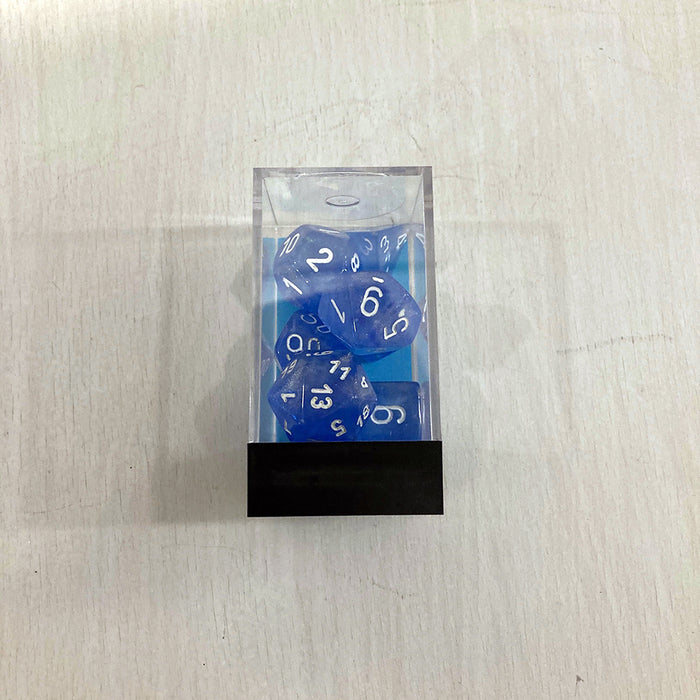 Dice 7-set Borealis (16mm) 27586 Sky Blue / White