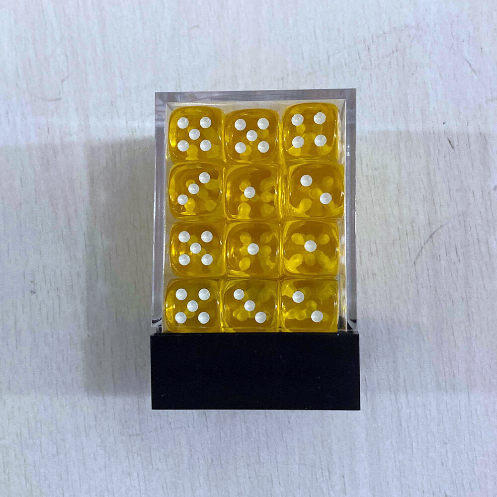 Dice Set 36d6 Translucent (12mm) 23802 Yellow / White