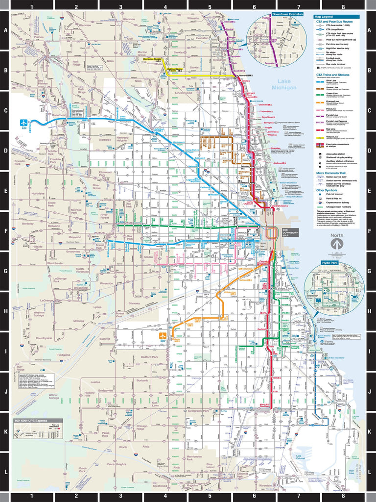 Chicago Subway Map Downtown.Puzzle 500pc Map Chicago Transit
