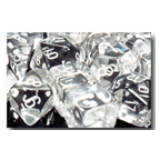 Dice Set 12d6 Translucent (16mm) 23601 Clear / Black