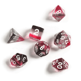 Dice 7-set Clear (16mm) Pink / Black