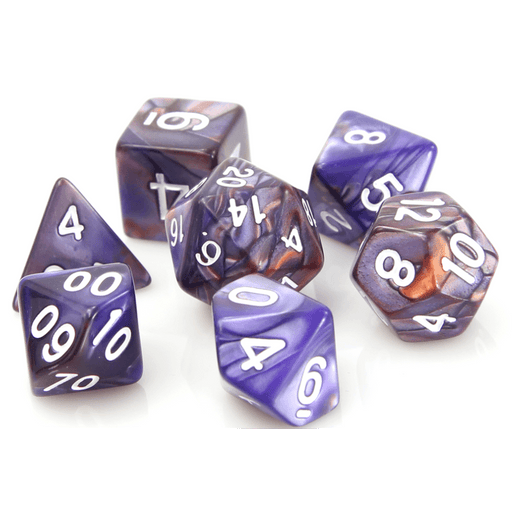 Dice 7-set Alloy (16mm) Copper Purple / White