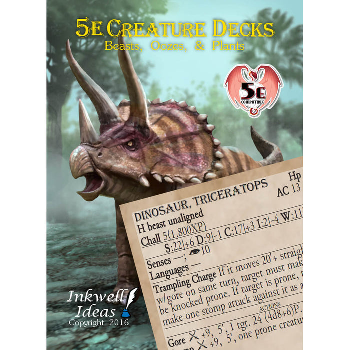 D&D (5e) Creature Deck : Beasts, Oozes, & Plants