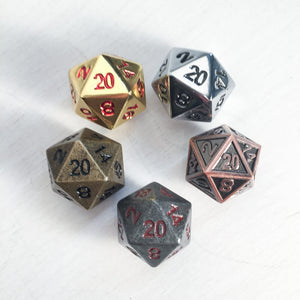 Polyhedral Dice Metal d20 : Assorted