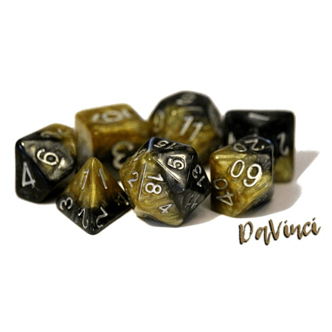 Dice 7-set DaVinci (16mm) Black / Gold