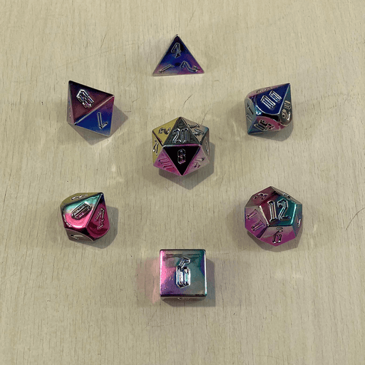 Dice 7-set Aluminum Plated Acrylic (16mm) Rainbow Aegis Uninked