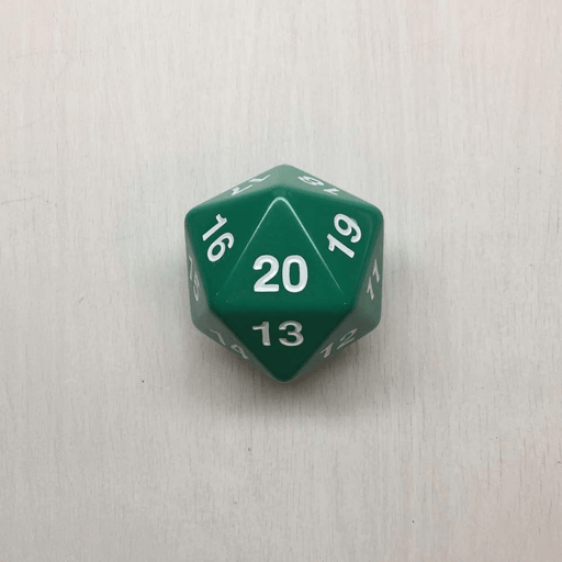 Polyhedral Dice Giant Spindown d20 Opaque (55mm) Green / White