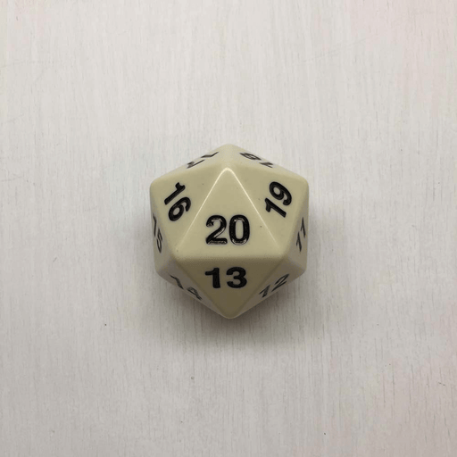 Polyhedral Dice Giant Spindown d20 Opaque (55mm) Ivory / Black