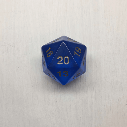 Polyhedral Dice Giant Spindown d20 Translucent (55mm) Sapphire / Gold