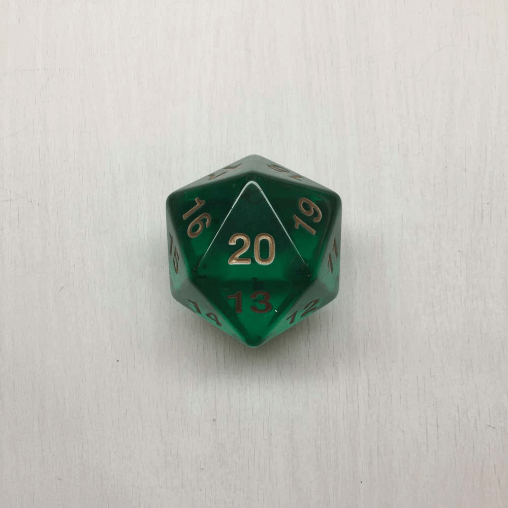 Polyhedral Dice Giant Spindown d20 Translucent (55mm) Emerald / Gold