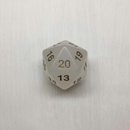 Polyhedral Dice Giant Spindown d20 Translucent (55mm) Pearl