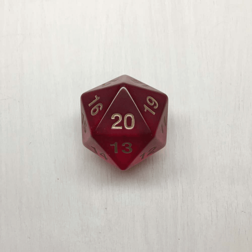 Polyhedral Dice Giant Spindown d20 Translucent (55mm) Ruby / Gold